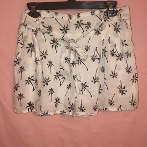 Blue Rain Black and White Palm Tree Tie Shorts